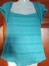 Debenhams size 12 short sleeve square neck sage green textured lace stretch top