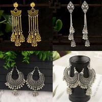 Women Vintage Tassel Bells Drop Earrings Gypsy Indian Jhumka Ethnic Jewelry Gift