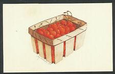 Ets/aquatint/aquarel Arja van den Berg Spanen mandje met kersen 1983