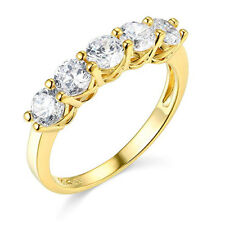 2.50 Ct Round Cut Real 14k Yellow Gold 5-Stone Wedding Anniversary Band Ring