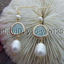 10x13mm White Rice  Pearl Glass Gold Plated Hook Earrings