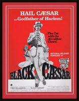 ORIGINAL Vintage 1972 Black Caesar 11x14 Framed Advertisement Fred Williamson