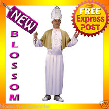 C442 Mens Pope Pontiff Priest Religious Fancy Halloween Adult Costume + Hat