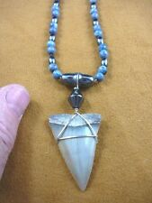"(s691-19) 1-3/4"" MAKO FOSSIL Shark Tooth wired on hematite + blue coral necklace"