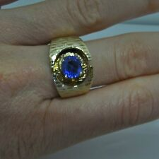 Ceylon Sapphire Blue 14K Ring Gold Modernist Unisex Ring Mid Century Signet Fine