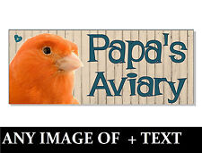 ANY NAME & IMAGE BIRDS Cockatiel budgie canary ACRYLIC SIGN Plaque AVIARY cage