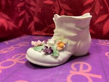Vintage Mid Century Lefton Baby Shoe White with Flowers
