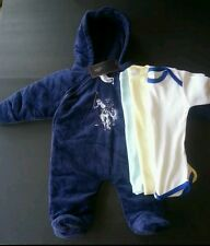 4pc US POLO ASSN SNOW SUIT COAT WINTER BLUE BABY 6-9 M 3 Onesies boys girls NWT