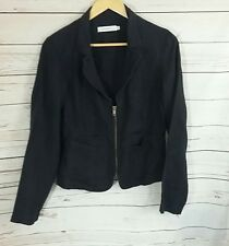 Sandwich Womens Jacket Eur 40 (12) Black 100% Ramie Zip fastening Long Sleeved