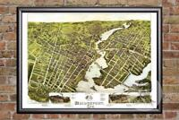 Vintage Bridgeport, CT Map 1875 - Historic Connecticut Art Victorian Industrial