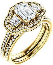 1.89 ct 3 stone Emerald & round Cut Diamond Halo Engagement Ring 14k Yellow Gold