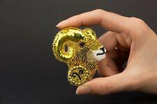 Aries Brooch Zodiac Embroidery Brooch Rams Head Jewelry Sheep Beaded Brooch