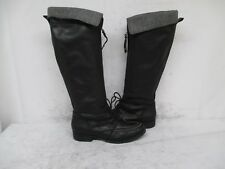 FOSSIL Black Leather Zip Lace Knee High Moc Toe Boots Size 7