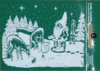 Fensterbild - Weihnachtsmann mit den Tieren des Waldes 11,5 x 14,5 cm