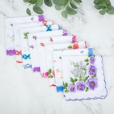 Hot 20Pcs Lot Women Vintage Cotton Quadrate Square Floral Handkerchief Decor USA