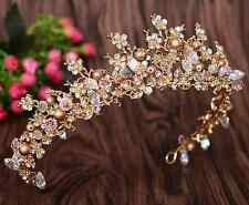 Gold Pearl Diamante Crystal Vintage Style Tiara Hair Wedding Princess Crown