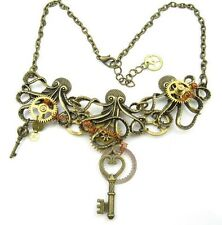 steampunk gothic punk rock choker statement necklace gears octopus key jewelry
