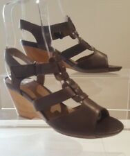 CLARKS Ladies Brown Leather Wedge Heel Sandals Shoes Size UK 4