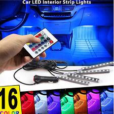 4Pcs Car Interior Atmosphere Neon Lights Strip Wireless Ir Remote Control 36 Led