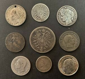 Europe, 1866 - 1944, 9 x Silver Coins (Various Countries, Denom's & Grades)