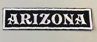 "Custom  Biker Vest Patch ARIZONA  4""X 1"" (SEW/IRON ON) WHITE ON BLACK"