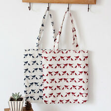 1-layer Blue Red Bird Cotton Linen Eco Reusable Shopping Tote Carrying Bag 501 B