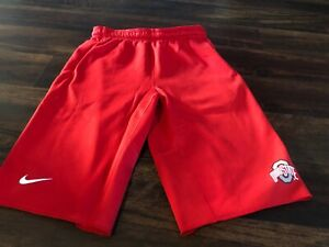 New Nike Men's Ohio State Buckeyes OSU Therma Fleece Shorts Size Small Red Gray