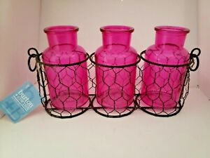 Set of 3 Pink Glass Jars Chicken Wire Basket Flower Container Rustic Primitive