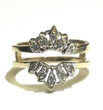 14k yellow gold .15ct SI2 H diamond bridal jacket 4.5g estate vintage ring guard