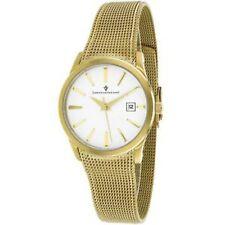 NEW Christian Van Sant CV2414 Women's Skin Wrist Gold Tone Mesh White Dial Watch