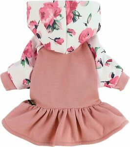 Fitwarm Floral Dog Clothes Dog Hoodie Dresses Breathable Skirt Girl Doggie Dress