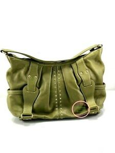 Michael Kors green Pebble Leather Hobo Bag Studded Gold Tone Accents large EXUC