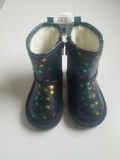 NEW GAP GIRL STAR SHERPA NAVY BLUE BOOTIES BOOTS 7 N12