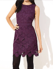 ANN TAYLOR LOFT FLORAL SCALLOPED LACE DRESS GLOWING VIOLET NWT ORG $118 SZ 6 12