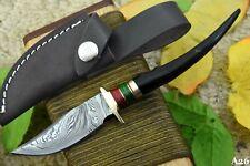 Custom Damascus Steel Hunting Knife Handmade With Impala Horn Handle (A26)