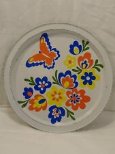 vintage Hippie Butterfly & Flowers Metal Eating Serving rare Orange Yellow Blue