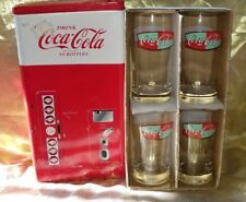COCA COLA FOUR 8 OZ DRINKING GLASSES IN COLLECTIBLE TIN VENDING MACHINE HOLDER
