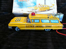 WORKS RARE YONEZAWA 1959 REMOTE EM SERVICE TOY CAR TIN  W/ ORIG BOX GREAT BUY