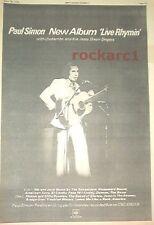 PAUL SIMON Live Rhymin' 1974 UK Poster size Press ADVERT 16x12 inches
