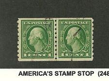 U.S. SC# 412  1912  perf 8.5 vert, used lined pair , JLP LP  VF
