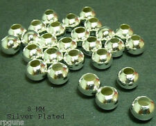 8 MM SILVER Plated Round Beads LOT of 1000 craft jewelry spacer bead findings