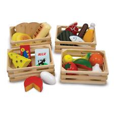 Holz Spiel Lebensmittel Set in Kisten Spielzeug Zubehör Kaufladen Kinderküche