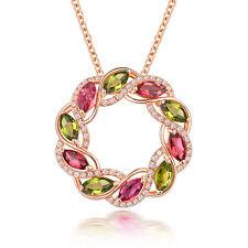 Solid 14K Rose Gold Diamond 2.5 ct Natural Tourmaline Wedding Gemstone Pendant