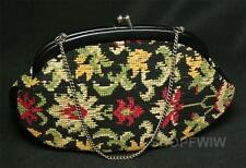 Vintage Black Floral Needlepoint Evening Bag Purse Circa 1940s