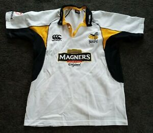 Vintage Retro LONDON WASPS White magners Canterbury Rugby Union Shirt Size L
