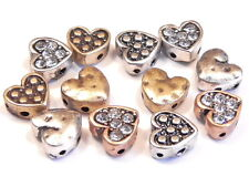 12 - 2 HOLE SLIDER BEADS SMALL MULTI DESIGN MIXED METAL HEARTS & CLEAR CRYSTALS