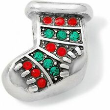 BRIGHTON CHRISTMAS BLINGY STOCKING SWAROVSKI CRYSTAL GREEN RED SILVER CHARM BEAD