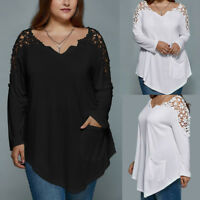 Plus Size Fashion Women Lace Long Sleeve T-shirt Casual Loose Tops Blouse XL-7XL