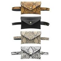 PU Leather Women Waist Fanny Belt Packs Snake Print Crossbody Chest Bags #gib