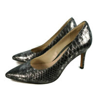 Clarks Narrative Size 6.5 6 1/2 D Grey Silver Snakeskin Pointed Party Heel Shoes